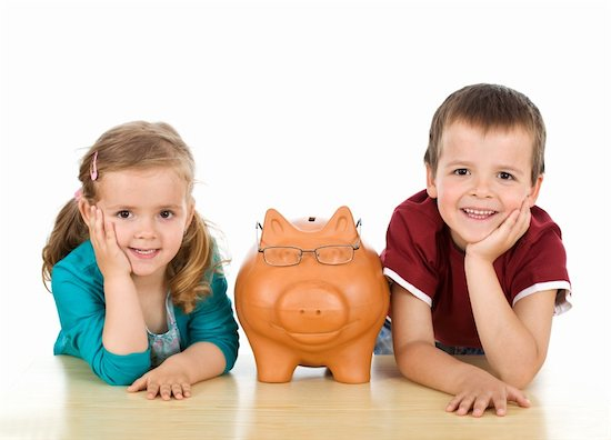 400-04354995 © ilona75 Model Release: Yes Property Release: No Financial education concept with kids and their expert piggy bank - isolated